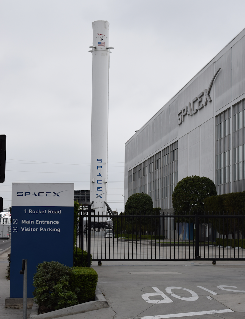 Falcon 9 first stage at SpaceX HQ USA